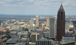 Atlanta skyline from above on a sunny day