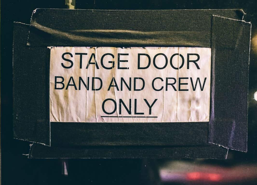 stage door with sign