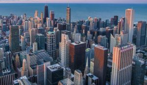 chicago skyline from birds eye view