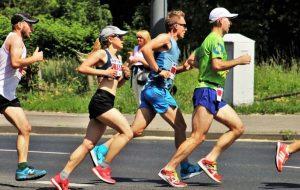 four runners during a marathon