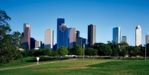 Houston buildings from the park view